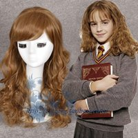 Wholesale Harry potter hermione granger long curly hair light brown cosplay wig