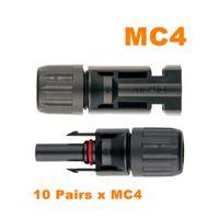 Cool ! MC4 Connecteur MC4 Connecteur solaire 10 paires PV Connecteurs de panneau solaire Homme Femme IP67 TUV 1000Vdc UL 600Vdc