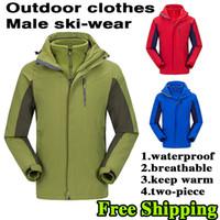 Vente en gros de nouveaux hommes de sport de plein air de sport, imperméable à l'air libre de ski alpinisme veste manteau de deux pièces multifonction
