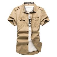 al por mayor uniforme del ejército xl-Camisas libres de la manga del cortocircuito del algodón del envío para la corto-manga del Mens más la camisa suelta del uniforme militar del tamaño Camisas Algodón-