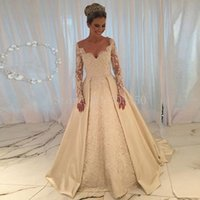 Wholesale Islamic Wedding Gowns Vestido Noiva Longo V Neck Elegant Long Sleeve Wedding Dresses Ball Gown Bridal Dresses