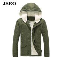 Wholesale JSEO Wen Winter Cotton Hooded Down Jacket Outwear Coat Outdoor Quilted Down Puffer Hooded Coat Fleece Lined Waterproof Jacket