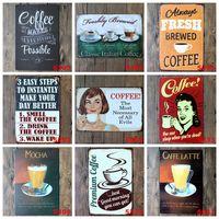 venda por atacado decoração da parede de ferro-CAFEE Vintage Tin Signs Retro Metal Sign Antiguidade Imitation Iron Plate Pintura Decoração A parede da Bar Cafe Pub Shop (Mixed designs)