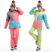 Wholesale 2017 new womens color matching ski jacket blue pink gray snowboarding jackets skiing jacket for women anorak skiwear K XS L