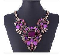 bib beads - Fashion Brand New Square Gemstone Colorful Beads Charm Jewelry Chain Pendant Necklace Choker Chunky Statement Bib Necklace Women Jewelry