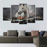 Дешевый Большая работа панели-5 панелей Белая лошадь Печать на холсте Картина на стене Современная живопись Большая картина холста для домашнего украшения Холст стены Печать