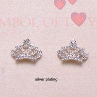 Wholesale J0836 mmx13mm metal crown shape rhinestone embellishment silver plating flat back