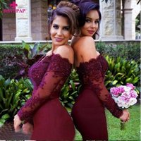 Wholesale 2017 Burgundy Chiffon Long Sleeve Bridesmaid Dresses Off Shouldr Mermaid Beaded Prom Evening Dresses Zipper Illusion Applique Formal Gowns