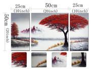 3-Piece 100% ручной росписью картины маслом Панель растянутыми подставил Готовые Ханг Пейзаж дерево цветок Современная Абстрактная живопись холст Гостиная