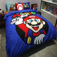 Wholesale via UPS Children cartoon Super Mario bedding set without the filler bedclothes single twin full queen size