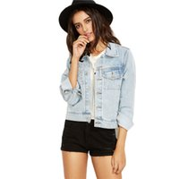 argyle blue - 2017010326 Light Blue Button Front Single Breasted Denim Coat Classic Style Ladies Lapel Long Sleeve Jacket