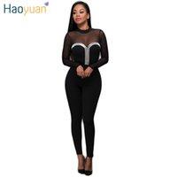 Wholesale HAOYUAN Autumn Women Sexy Mesh Jumpsuit Long Pants Romper Long Sleeve Black Night Club Elegant Body Slim Jumpsuits Overalls