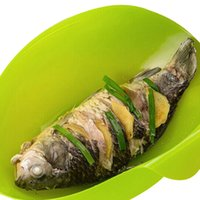Wholesale Green Silicone Fish Kettle Folding Steamer Microwave Poacher Cooker Food Vegetable Bowl Basket Kitchen Cooking Tools Silica gel steaming