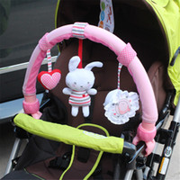 Wholesale Pink Nowborn Baby Bed Stroller Car Clip Lathe Hanging Rattle Bell Educational Animal Plush Toy Seat Take Along Travel Plush Bell Animal Toy