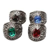 army rings - 7 Four Color Precious Stones Engraving Modelling L Stainless Steel US Army Ring for Men