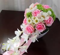 Wholesale 2017 Cheap Wedding Bouquet Bouquet De Mariage Handmade Flower Pink White Teardrop Cascade Bridal Boquet Bridesmaid Bouquet Handmade Flowers
