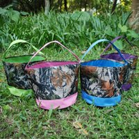 basket in gift packaging - Camo Easter Buckets Blanks Candy and Egg Collecting Easter Basket Fabric Bin Gift Packaging in Colors DOM106239