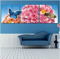 bee picture frames - Triptych paintings Three picture Combination home decor Bee and flower painting oil painting on canvas