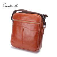 Cross Body Men Plain Wholesale- CONTACT'S Fashion Messenger Bag Men Small Brown Brand Man Bag High Quality Men's Bags Men Messenger Casual Shoulder Briefcase