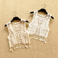 achat en gros de lacets blancs gros-Cute Girl Lace Tassel Cardigans Gilets Summer Fall Fashion Waistcoat Kids Girls Blanc et Beige Couleur Outwear Vente en gros 15pcs / lot Mix Color