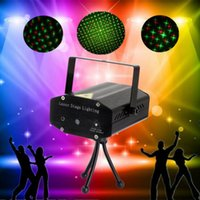 Wholesale Mini Portable Red Green Laser LED Stage Light Lamp Auto Voice Xmas DJ Disco Party Club Stage Lighting Effect Projector Remote