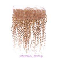 Precio de Miel rubia pelo rizado virgen-El pelo humano brasileño rizado tece el cordón frontal 27 # del cordón El pelo rubio de la miel con los frontales 13X4 del cordón