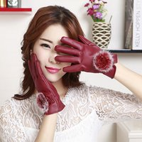 bicycle joker - Lady bicycle to add new touch screen PU leather gloves wool rabbit hair ball gloves can warm the whole winter fashion street joker