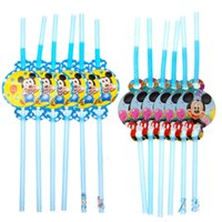Wholesale plastic drinking straw with cute Mickey Mouse baby decor for child kids girls boys birthday party decor suppliers
