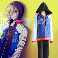 Wholesale Japanese Anime Cosplay Yuri On Ice Cosplay Yuri Plisetsky Costume Sports Wear Coat hoodie pants per set