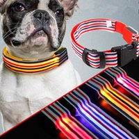 Wholesale Hot Sale Sailor Nylon Stripe LED Luminous Pet Dog Collar size for Large and Small Dogs Puppy LED Flashing Collar Safety Night JF054