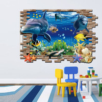 Wholesale New Special Design d effect Underwater World Dolphin Turtles Background Fashion Wall Stickers Home Decor decoration