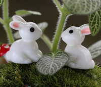 arte del conejo de pascua al por mayor-Fairy Garden miniatura conejo conejo color blanco artificial mini conejos decoraciones resina artesanía bonsai decoraciones conejito de pascua