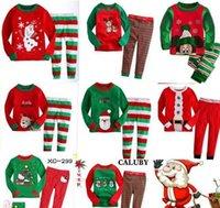 Wholesale Christmas Long Sleeve Pyjamas Kids Striped Pajamas Kids Nightwear Set Xmas Pajamas Baby Sleepwear Cartoon Pajamas HHA1126