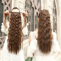 Wholesale cm inch long curly ponytail synthetic fake hair ponytails hairpiece for lovely girl clip in curly ponytail hair extension