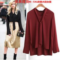 Wholesale Tied blouse Women Long Sleeve Bottoming Large size Long sleeved Shirt Lapel shirt sexy female shirt Casual blouse