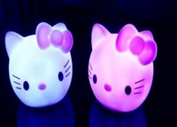 Wholesale colorful small night light child toy carpet Colorful Cartoon Cat LED night light night lamp baby hello kitty