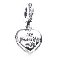 Wholesale 2017 New Valentine Gift My Beautiful Wife Charm Fit For Pandora Bracelet DIY Bead Charm Sterling Silver Jewelry