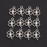 animal components - 300pcs Antique Silver Clover Leaf Charms Pendants Jewelry Findings Components DIY L368 x17mm Tibetan Silver