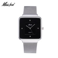 Wholesale Square Design Branded Watches - Miss Fox Original Design Woman Leisure Brand Watches Stainless Steel Rectangle Star With Japan Quartz Movement Waterproof Watch Battery