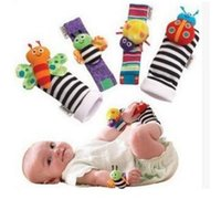 Wholesale 10sets New arrival sozzy Wrist rattle foot finder Baby toys Baby Rattle Socks Lamaze Baby Rattle Socks and wristbands