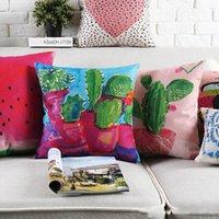 asian watercolor - Watercolor Painting Green Plants Cushion Covers Southeast Asian Cactus Flowers Floral Tree Pillow Cover Decorative Linen Cotton Pillow Case