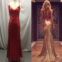 Wholesale 2017 Real Images Gold Sequined Mermaid Evening Dresses Long Sexy Open Back Prom Party Gowns Sweep Train