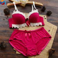 beautiful women underwear - Women Intimate Bra Set Red Japan Lolita Bra Brief Sets Double Push Up Underwear Lace Comfortable Beautiful Girls Lingerie Set