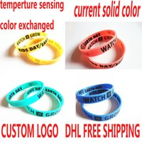 animal print bangle bracelets - 200pcs temperture sensing color exchanged silicone bracelets with customized logo printed luminous bangles DHL
