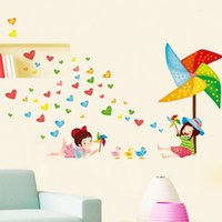Removable windmill wall art - 40 cm Wall Stickers DIY Art Decal Removeable Wallpaper Mural Sticker for Kids Room Bedroom Kindergarten DLX5183 Love Heart Windmill