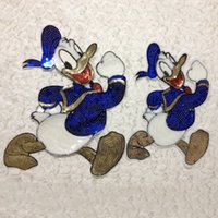 baby duck fabric - 20pcs Donald Duck Clothes Accessories Jacket patches parches ropa Sequin Patch For Clothing Baby Kids Embroidered Fabric Patchwork Appliques