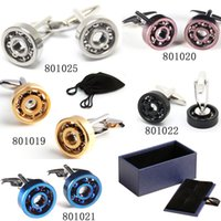 Wholesale Multicolor Bearing Cufflinks Blue Cuff Links Golden Cuff Link Men Shirt Accessories