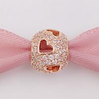 al por mayor corazón pulsera europea-Auténtico 925 cuentas de plata Tumbling corazones, P-Rose claro Cz encanto se adapta a Europa Pandora estilo joyas pulseras 781426CZ oro rosa chapado