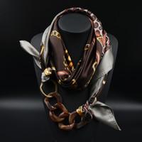 Wholesale Silk Scarf Acrylic Pendant Multilayer Scarves Pattern Printed Muffler Designer Luxury Brand Scarf New Women Autumn Fashion