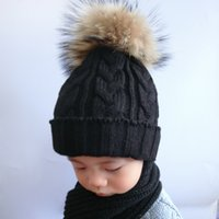 baby beanies for girls - Children Fur Pompom Hat Baby Boys Girls Winter Beanie Hats Wool Knitted Caps For Kids Hot Sale
